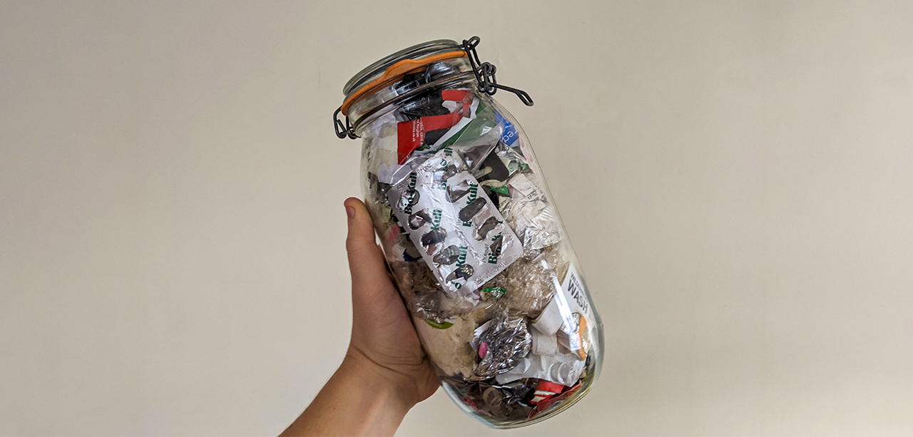 Jar of rubbish from a low-waste challenge in 2019 (Tearfund)