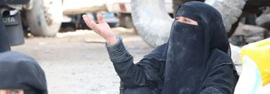 Yemeni woman asking for help