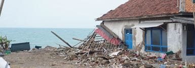 House by the coast badly damaged by the tsunami