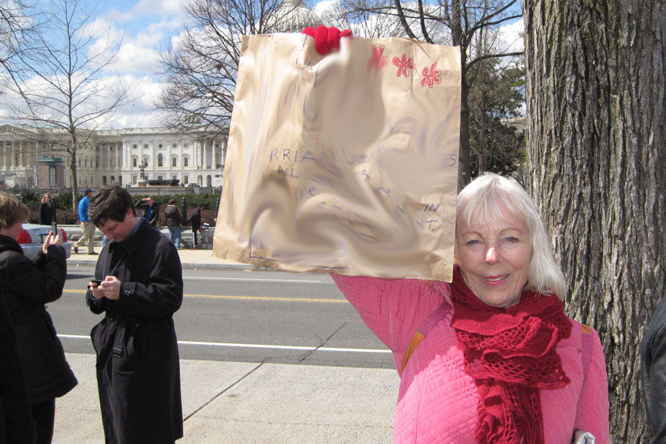 Woman demonstrating in Washington