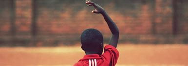 South African boy in football shirt
