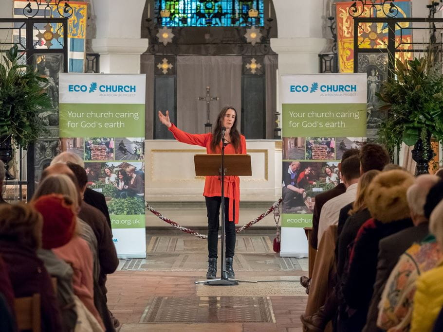 Tearfund's Director of Global Advocacy and Influencing Ruth Valerio speaking at an Eco Church (St Paul's Institute/St Paul's Cathedral).