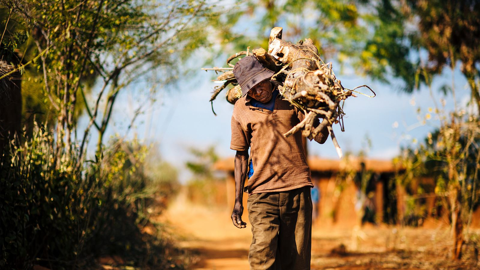 A man in Tanzania gathers wood (Tom Price / Tearfund)