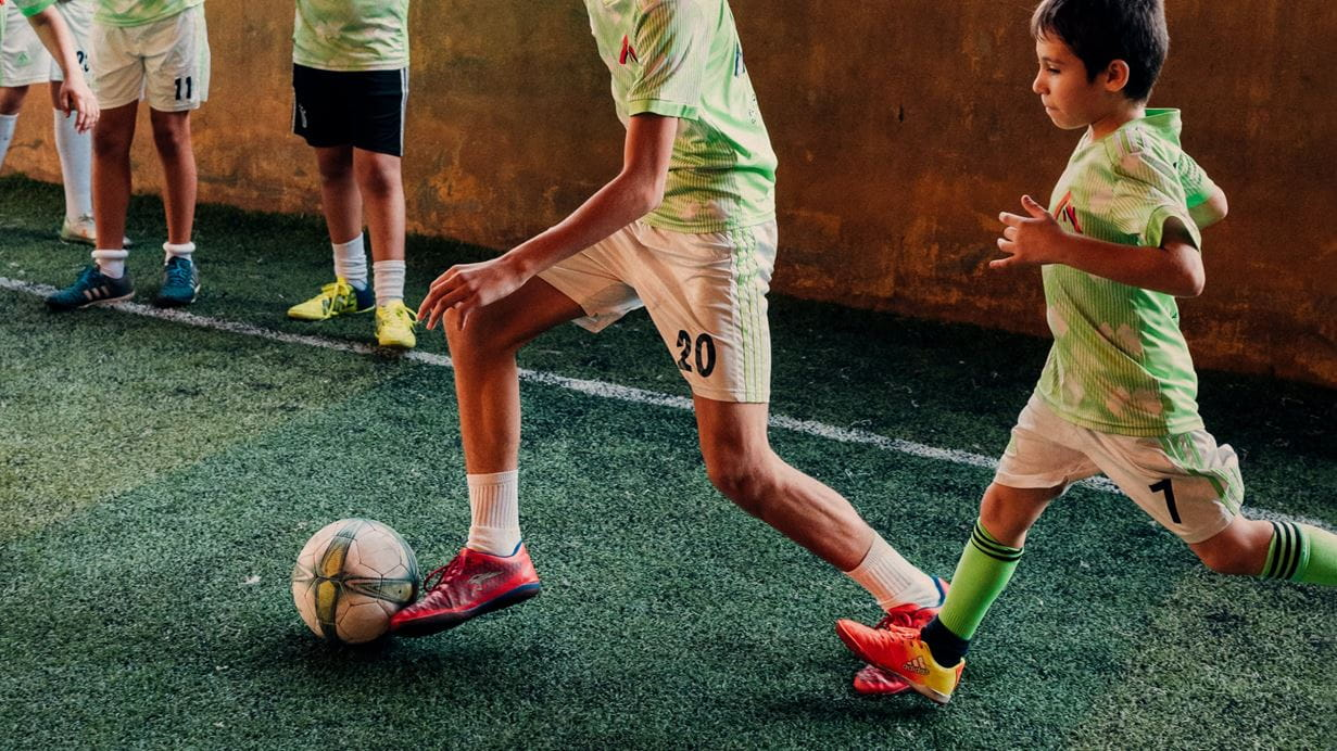 A children's football team in Lebanon, Play for Peace, train together. Credit: Ruth Towell/Tearfund