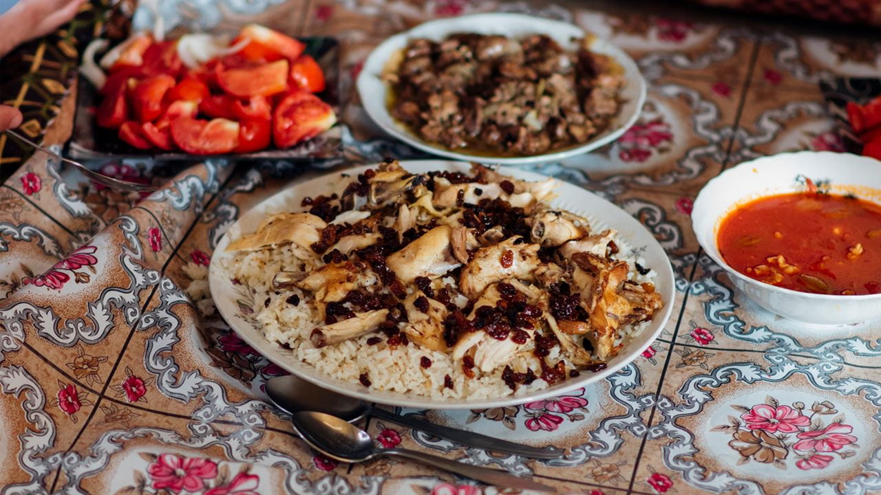 Iraqi food laid out on a table