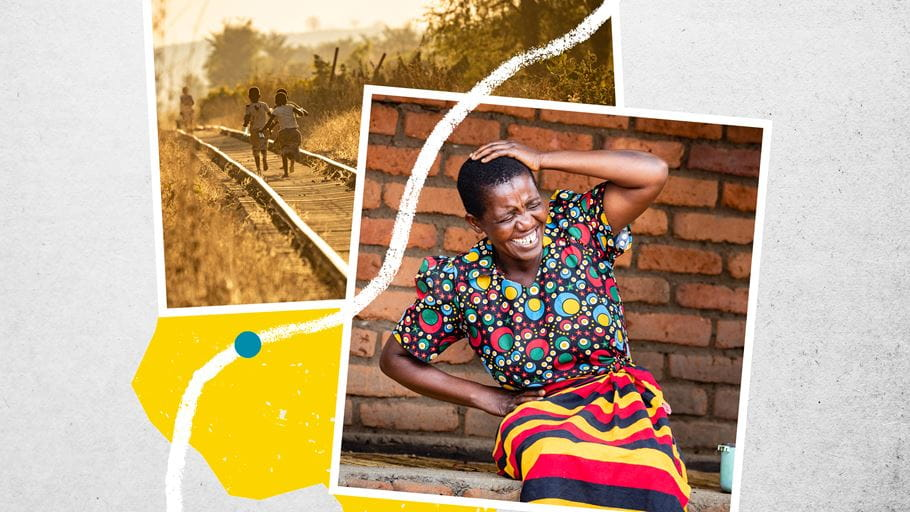 Two images. One of children running along a railway track. The other showing a woman outside laughing.